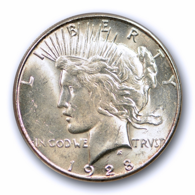 1928 S $1 Peace Dollar ANACS MS 63 Uncirculated San Francisco Mint Date Original