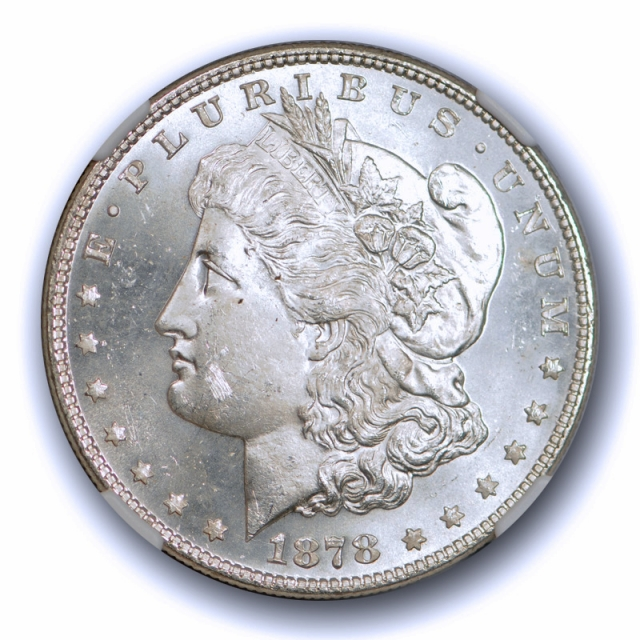 1878 $1 7TF REV OF 78 Morgan Dollar NGC MS 64 Uncirculated Reverse of 1878 White !