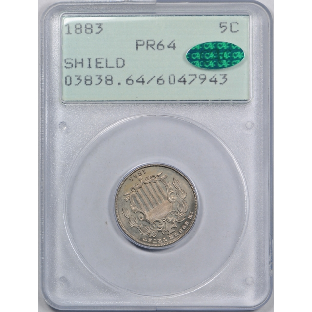 1883 5C Proof Shield Nickel PCGS PR 64 PF First Generation Rattler Holder CAC