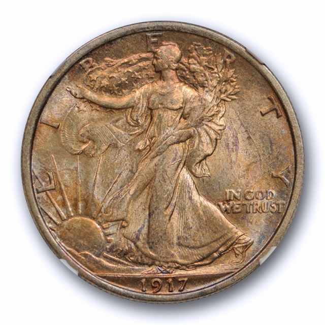 1917 50c Walking Liberty Half Dollar NGC MS 64 Uncirculated Rich Toned Beauty !