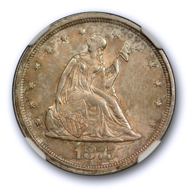 1875 S 20c Twenty Cent Piece NGC MS 63 Uncirculated Toned CAC Approved !