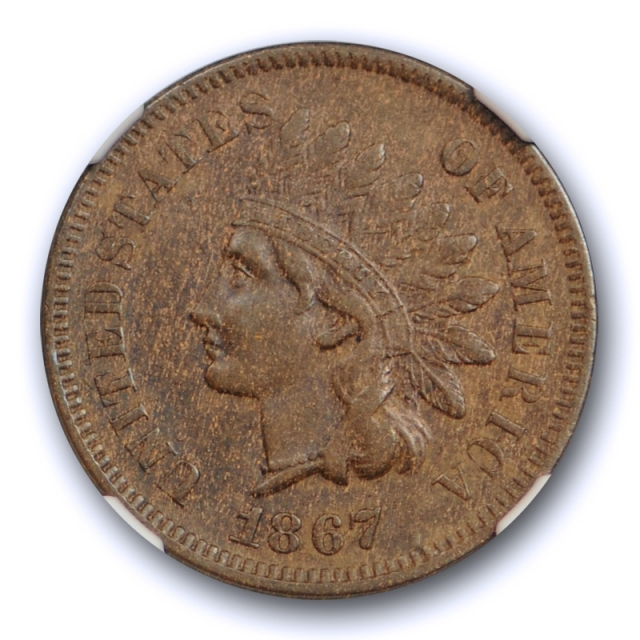 1867 1c Indian Head Cent NGC AU 55 About Uncirculated Better Date Coin