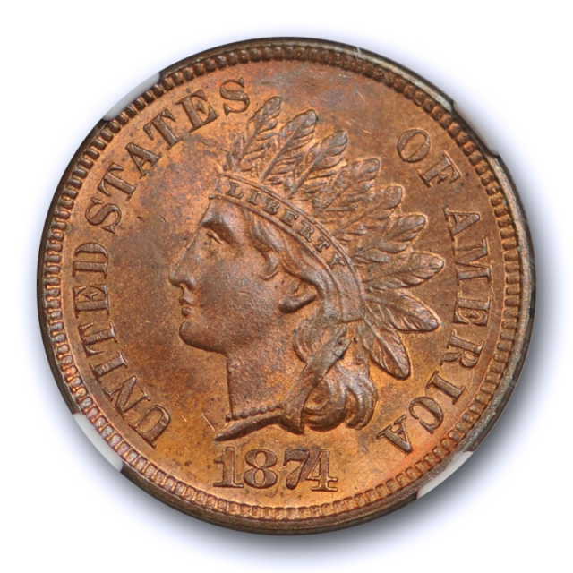 1874 1c Indian Head Cent NGC MS 64 RB Uncirculated Red Brown CAC Approved