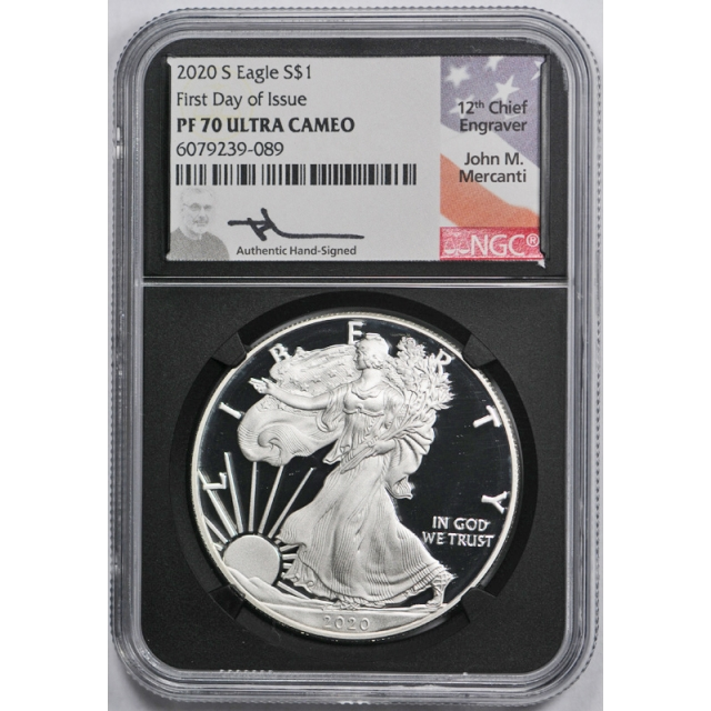 2020 S $1 Proof Silver Eagle NGC 70 First Day of Issue Signed Mercanti Black Holder !