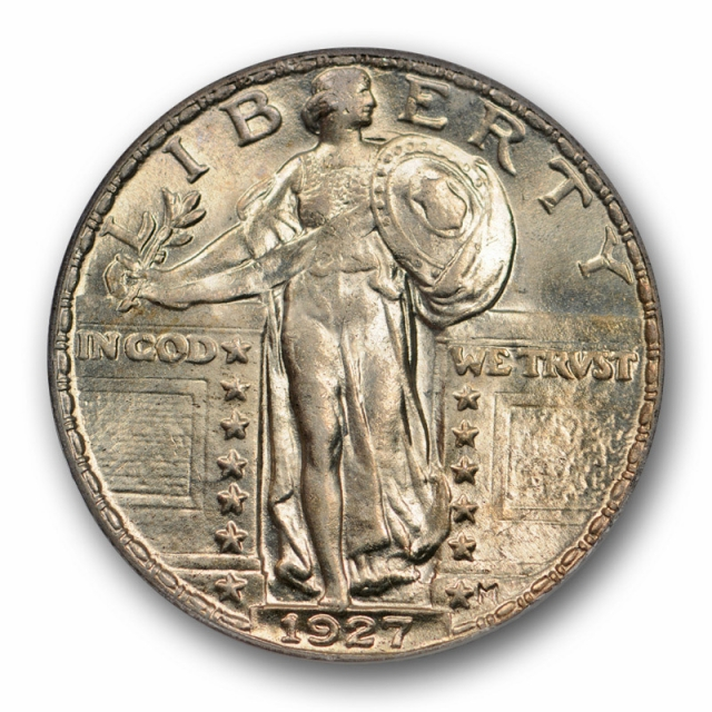 1927 25C Standing Liberty Quarter ANACS MS 63 Uncirculated Mint State Beautiful !