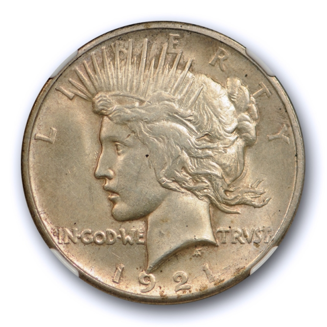 1921 $1 Peace Dollar High Relief NGC MS 62 Uncirculated Key Date Toned Original