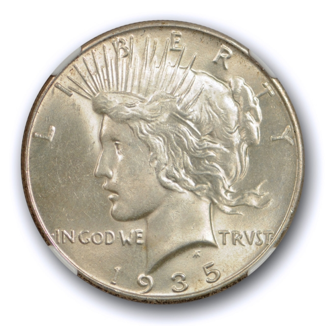 1935 $1 Peace Dollar NGC MS 62 Uncirculated Better Date Lightly Toned Original