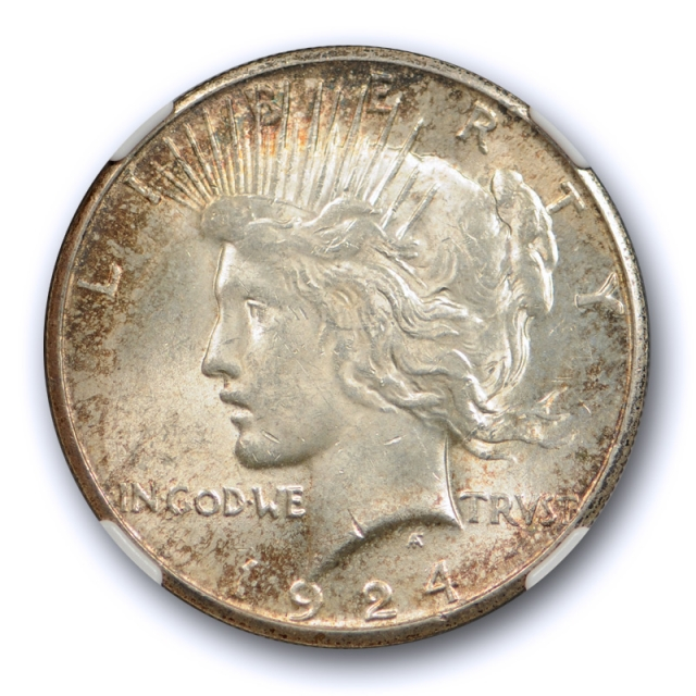 1924 S $1 Peace Dollar NGC MS 62 Uncirculated Better Date Original Toned Coin