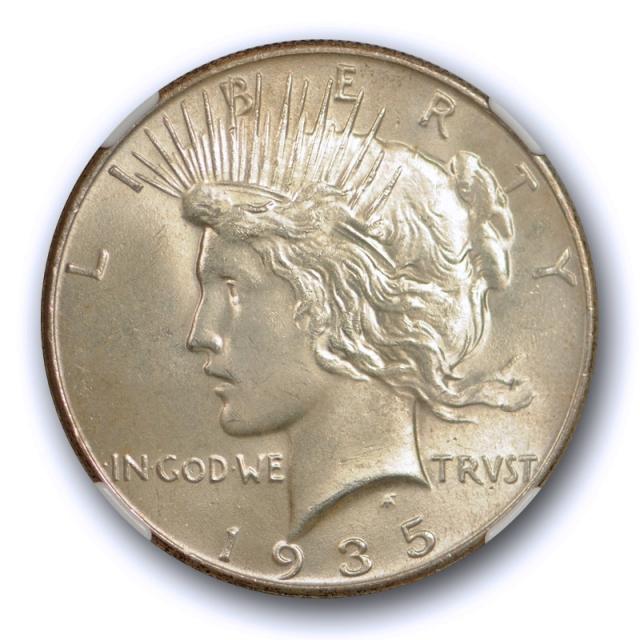 1935 $1 Peace Dollar NGC MS 64 Uncirculated Better Date Original Toned Cert#4012