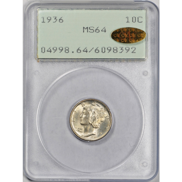 1936 10C Mercury Dime PCGS MS 64 Uncirculated Rattler Gold CAC Sticker