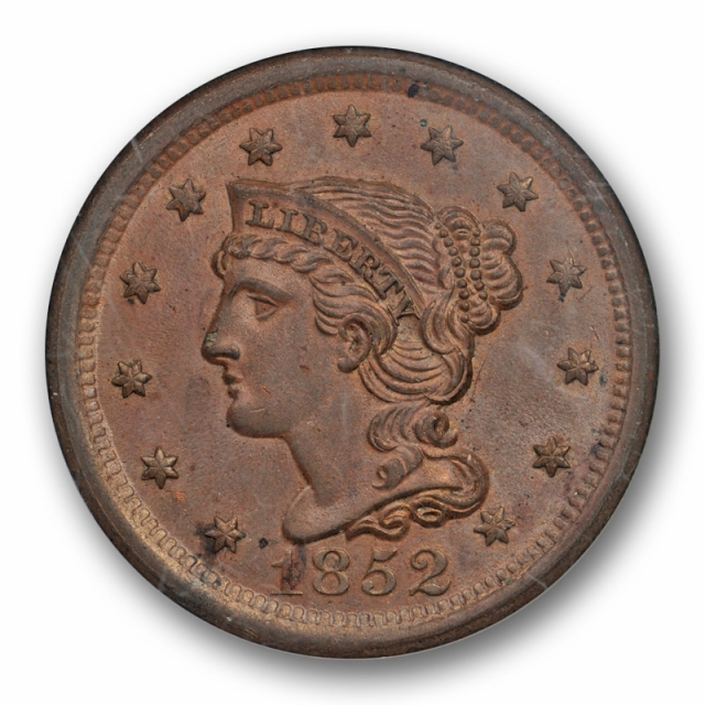 1852 1c Braided Hair Large Cent NGC MS 65 BN Uncircualted Brown N 10 Newcomb