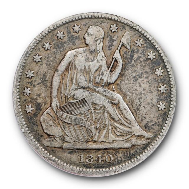 1840 50C Reverse of 1839 Seated Liberty Half Dollar ANACS VF 25 Very Fine Original