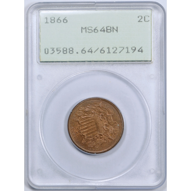 1866 2C Two Cent Piece PCGS MS 64 BN Uncirculated Brown Old Rattler Holder !