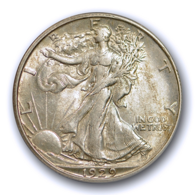 1929 D 50C Walking Liberty Half Dollar ANACS AU 53 About Uncirculated to Mint State