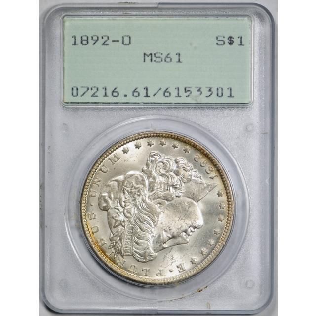 1892 O $1 Morgan Dollar PCGS MS 61 Uncirculated Rattler Holder Tough !