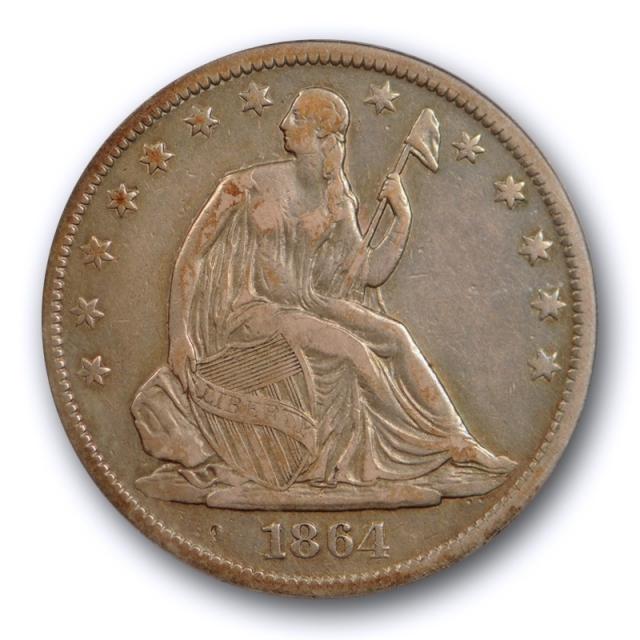 1864 S 50C Seated Liberty Half Dollar ANACS VF 25 Very Fine to Extra Fine