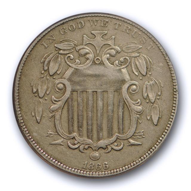 1866 5C With Rays Shield Nickel ANACS EF 40 Extra Fine XF W/Rays Original Cert#7730