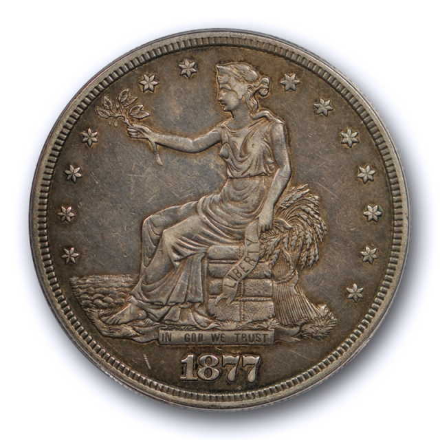 1877 S T$1 Trade Dollar ANACS EF 45 XF Extra Fine to About Uncirculated Nice !