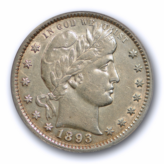 1893 S 25C Barber Quarter ANACS EF 40 Extra Fine XF Better Date Tough Coin