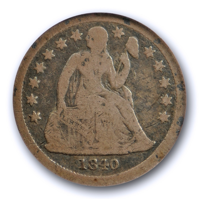 1840 10C With Drapery Seated Liberty Dime ANACS VG 8 Very Good Original Tough !
