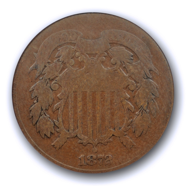 1872 2C Two Cent Piece ANACS VG 8 Very Good Key Date Low Mintage Coin !
