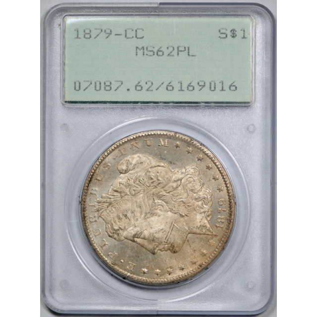 1879 CC $1 Morgan Dollar PCGS MS 62 PL Uncirculated Proof Like Rattler Holder !
