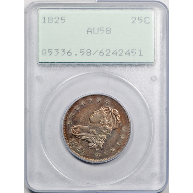 1825 25C Capped Bust Quarter PCGS AU 58 About Uncirculated Rattler Holder
