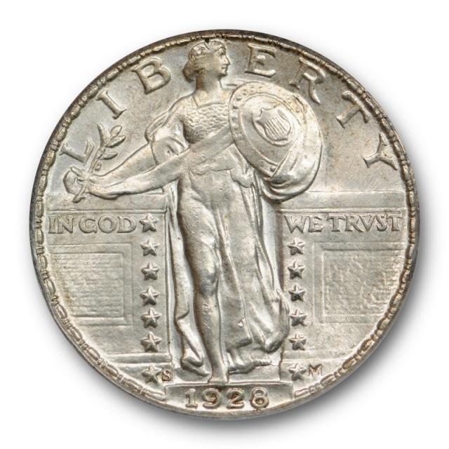 1928 S 25C Standing Liberty Quarter ANACS MS 63 Uncirculated Better Date Original !