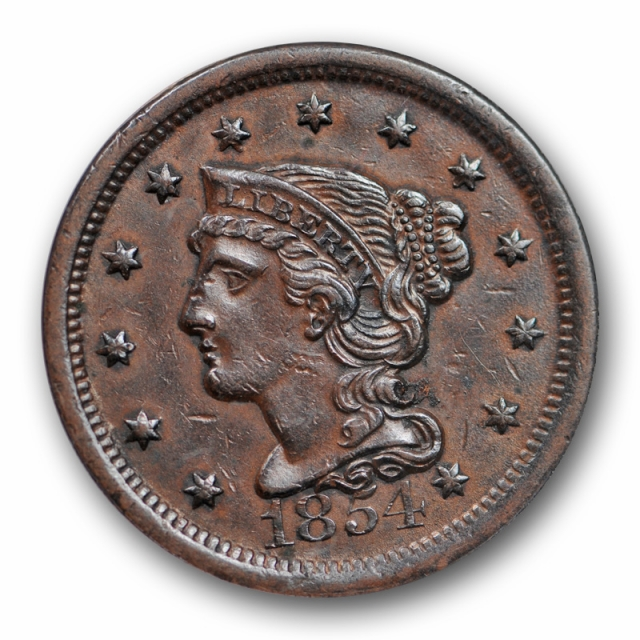 1854 1C Braided Hair Large Cent ANACS AU 50 About Uncirculated US Type Coin