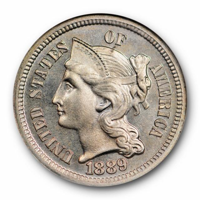 1889 Three Cent Piece Copper Nickel NGC PF 66 Proof Low Mintage Blast White