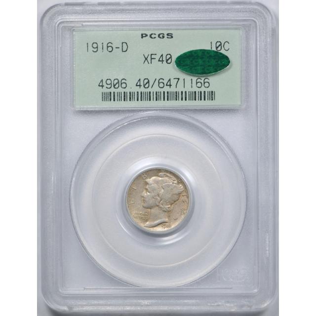 1916 D 10C Mercury Dime PCGS XF 40 Extra Fine Key Date OGH CAC UNDERGRADED