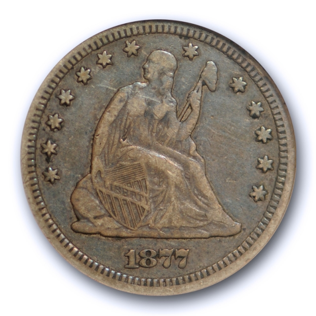 1877 CC 25C Seated Liberty Quarter ANACS VF 20 Very Fine Carson City Mint Old Holder