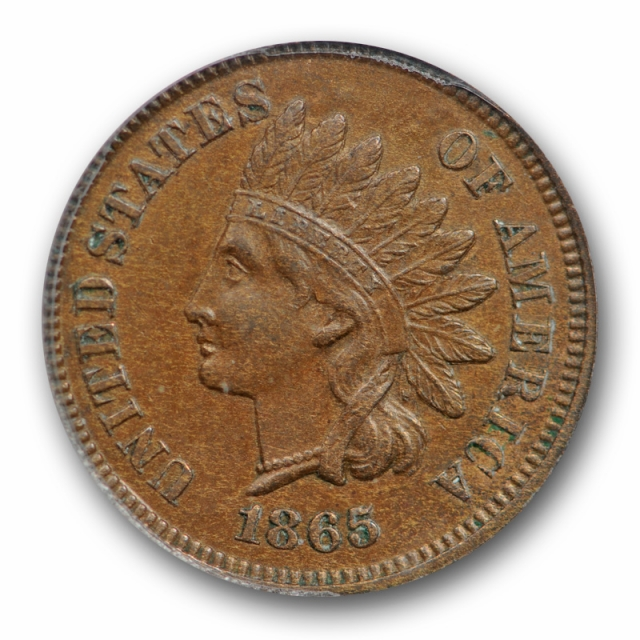 1865 1C Fancy 5 Indian Head Cent ANACS AU 58 About Uncirculated Major Die Crack !
