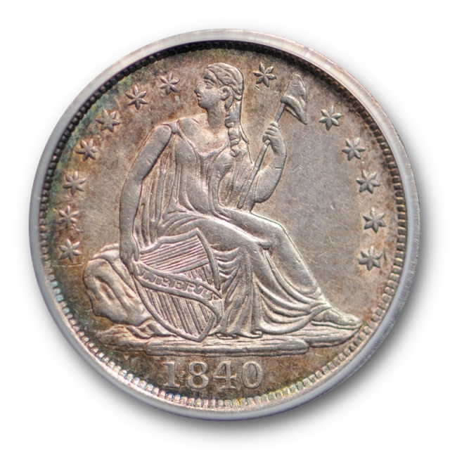 1840 H10C No Drapery Seated Liberty Half Dime ANACS AU 58 About Uncirculated Toned