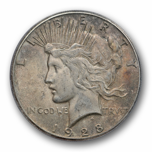 1928 $1 Peace Dollar ANACS AU 58 About Uncirculated to Mint State Key Date Toned