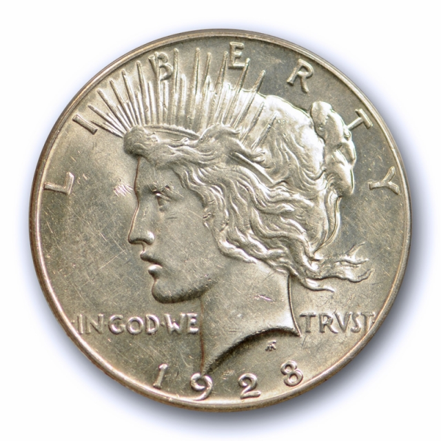 1928 $1 Peace Dollar ANACS AU 55 About Uncirculated to Mint State Key Date Sharp !