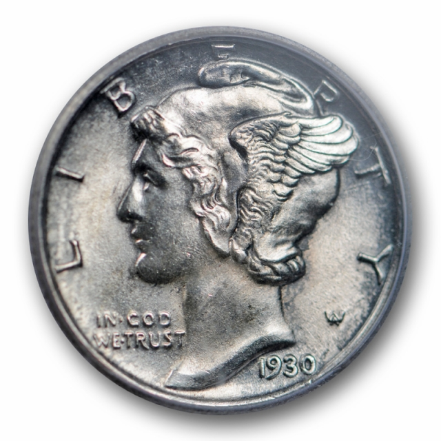 1930 10C Mercury Dime ICG MS 64 FB Uncirculated Full Bands Toned Better Date Sharp !