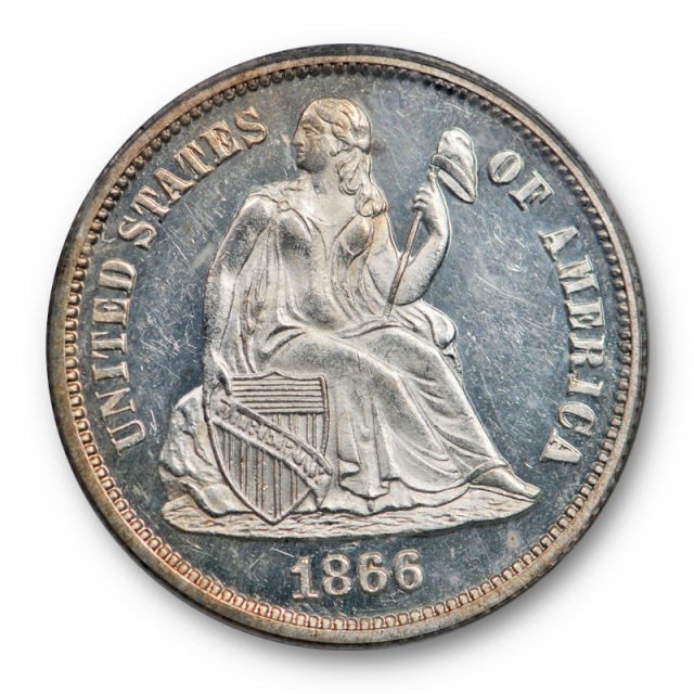 1866 10C Seated Liberty Dime PCGS PR 63 Proof Key Date Strong Cameo! OGH Nice !