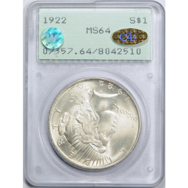 1922 $1 Peace Dollar PCGS MS 64 Rattler Holder Gold CAC Sticker & Site White !