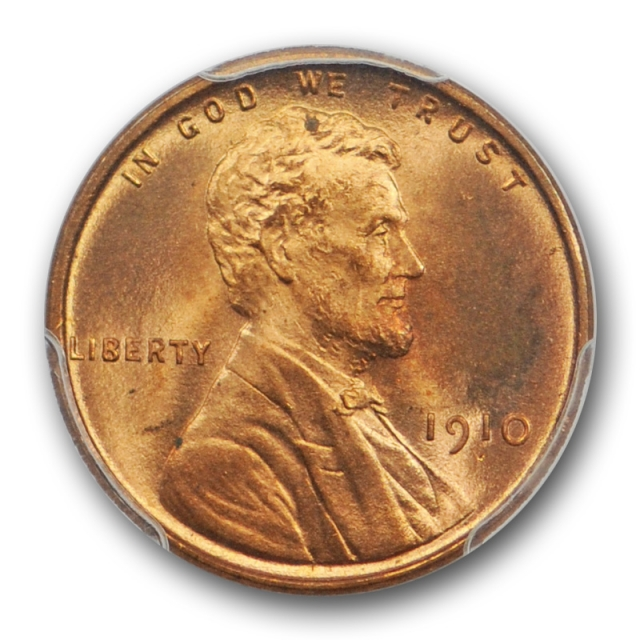 1910 1C Lincoln Wheat Cent PCGS MS 65 RD Uncirculated Full Red Attractive Coin !