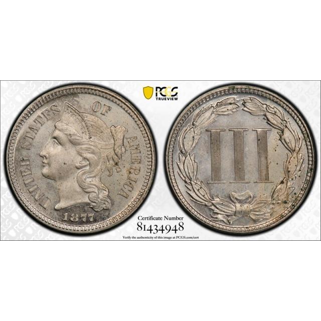 1877 3CN Three Cent Nickel PCGS PR 63 Proof Only Issue Key Date Original Cert#4948
