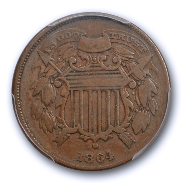1864 2C Small Motto Two Cent Piece PCGS VF 20 Very Fine Key Variety Coin Nice !