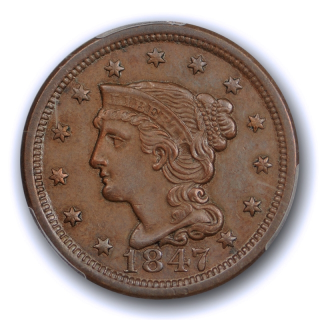 1847 1C Braided Hair Large Cent PCGS AU 58 About Uncirculated Better Date !