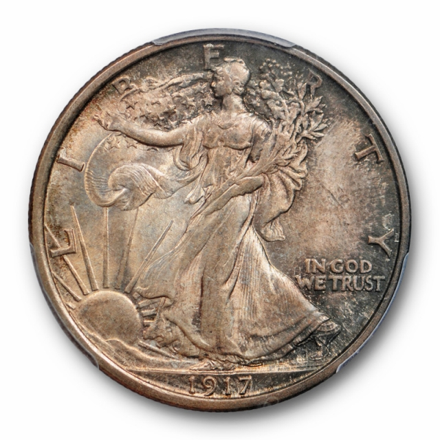1917 50C Walking Liberty Half Dollar PCGS MS 65 Uncirculated Purple Toned Hue Cert#1678