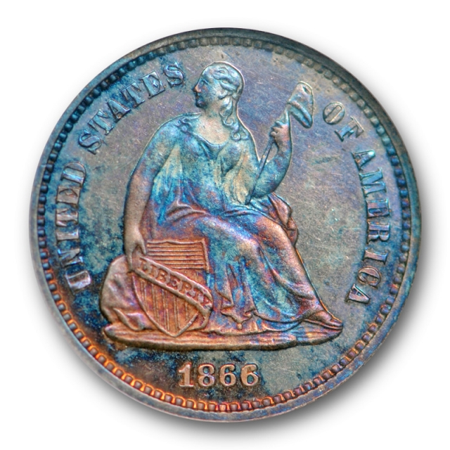 1866 H10C Seated Liberty Half Dime ANACS PF 63 Proof Colorful Toned Key Date