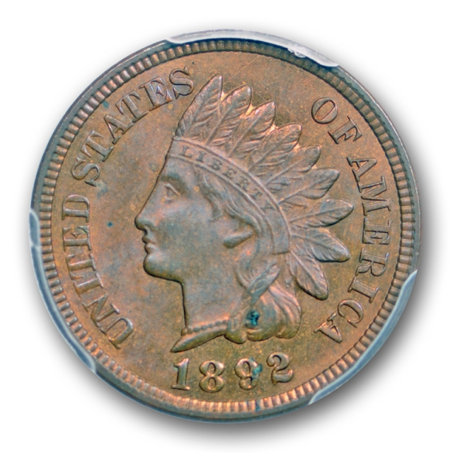 1892 1C Indian Head Cent PCGS MS 64 RB Uncirculated Red Brown Darker Cert#3425