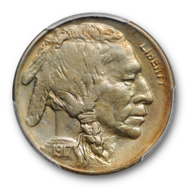 1917 S 5C 2 Feathers Buffalo Head Nickel PCGS MS 62 Uncirculated Two Pop 2 !