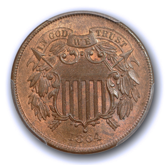 1864 2C Large Motto Two Cent Piece PCGS MS 64 RB Uncirculated Red Brown US Type Coin