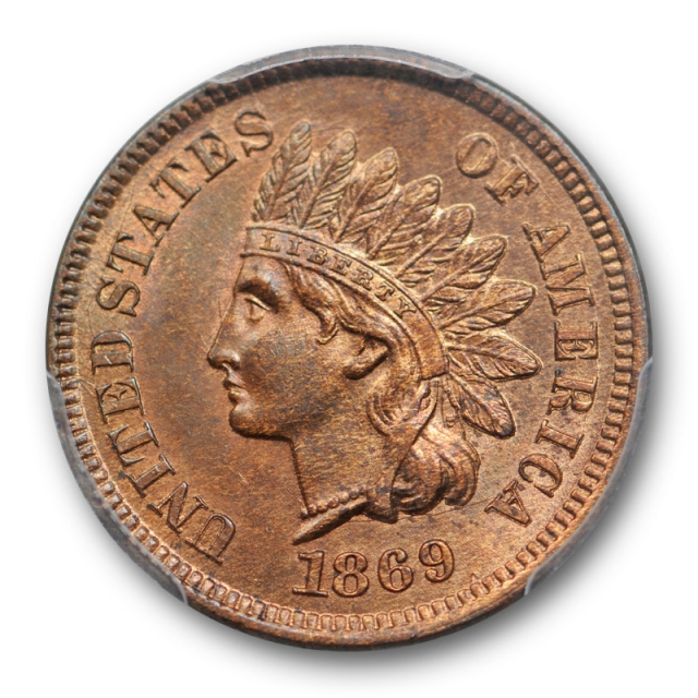 1869 1C Indian Head Cent PCGS MS 65 RB Uncirculated Red Brown CAC Approved Sharp !
