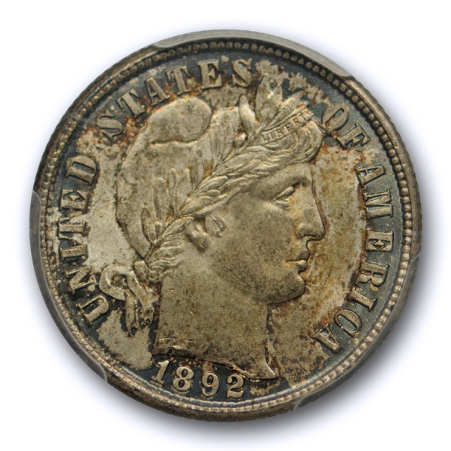1892 10C Barber Dime PCGS MS 65 Uncirculated Crusty Original Toned First Year of Issue